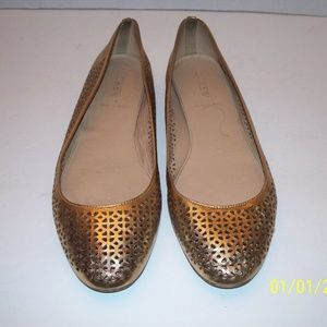J. Crew Italy Nora Gold Leather Perforated Flats